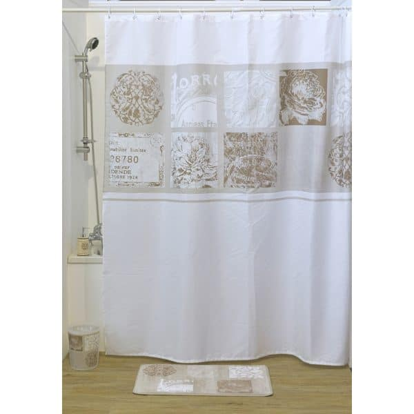 Paris Romance Polyester Fabric Shower Curtain, Multicolored