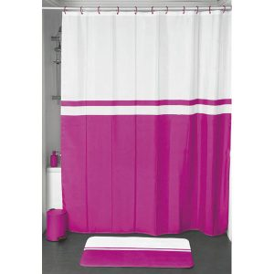 Bi Color Polyester Shower Curtain with Velvet Effect, Pink
