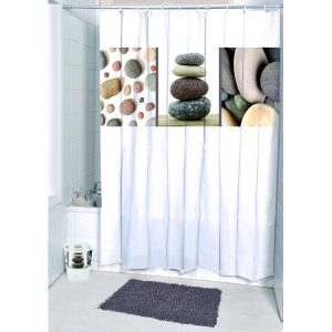 Belle Ile Polyester Printed Fabric Shower Curtain, Multicolored