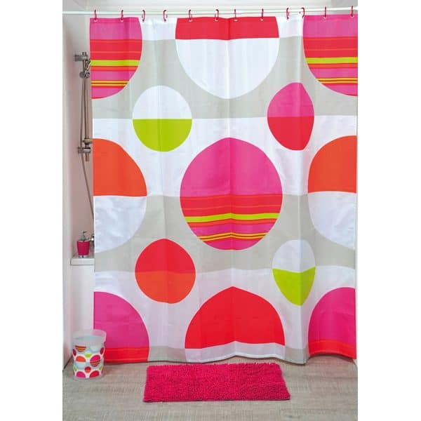 Eclats Polyester Printed Fabric Shower Curtain, Multicolored