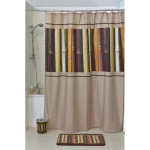 Java Polyester Printed Fabric Shower Curtain, Multicolored