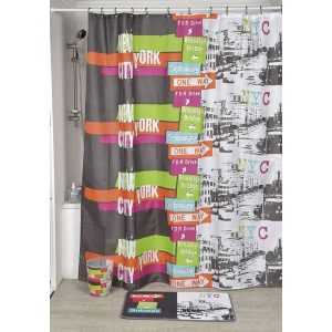 Urban Nyc Polyester Printed Fabric Shower Curtain, Multicolored