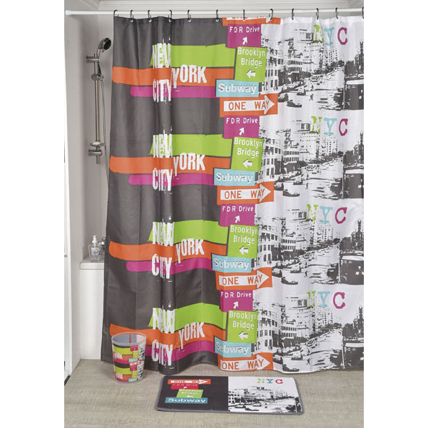 Urban Nyc Polyester Printed Fabric Shower Curtain Multicolored