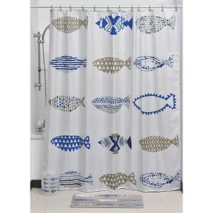 Nautical Polyester Printed Fabric Shower Curtain, Multicolored
