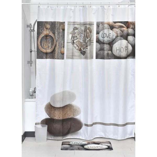 Design Nature Polyester Fabric Shower Curtain, Multicolored