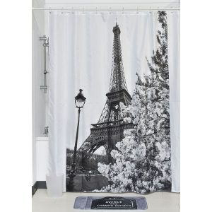 Paris City Polyester Printed Fabric Shower Curtain,Multicolored