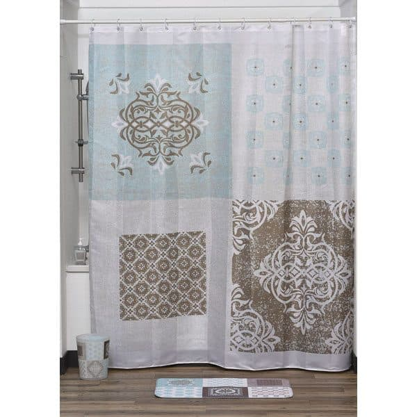 "Faience Printed Polyester Fabric Shower Curtain 71""W x 79""H"