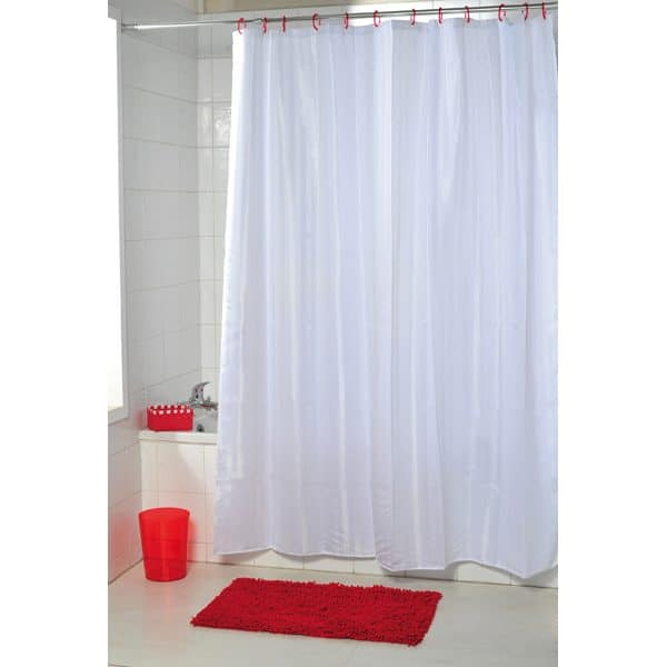 Stripes Vertical Polyester Fabric Shower Curtain, White