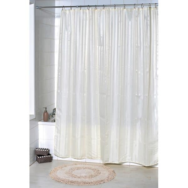 Stripes Vertical Polyester Fabric Shower Curtain, Off White