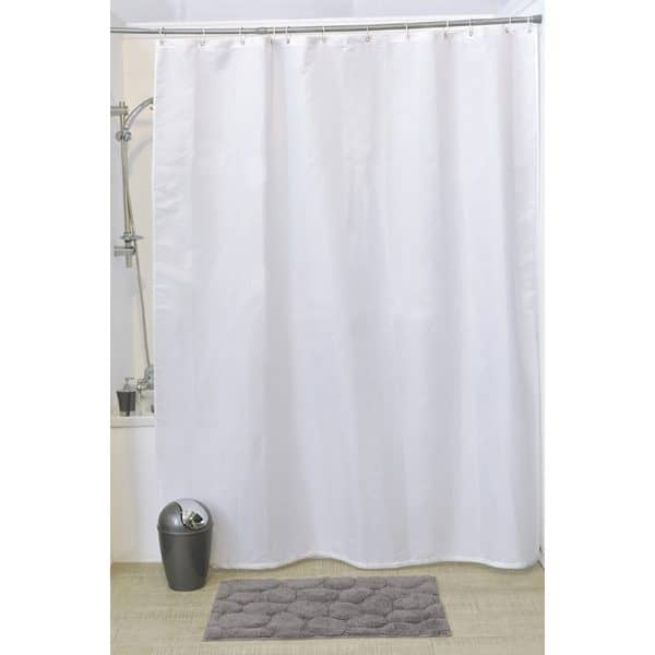 Design S Fabric Polyester Shower Curtain with 12 Matching Rings, White