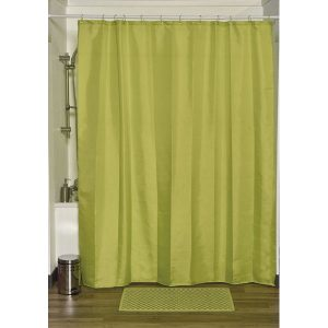 Design S Fabric Polyester Shower Curtain with 12 Matching Rings, Lime Green