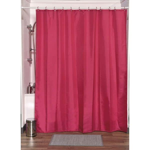 Design S Fabric Polyester Shower Curtain with 12 Matching Rings, Pink