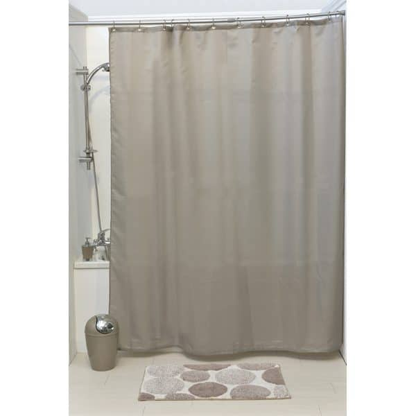 Design S Fabric Polyester Shower Curtain with 12 Matching Rings, Taupe