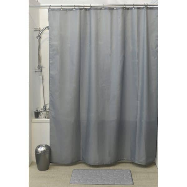 Design S Fabric Polyester Shower Curtain with 12 Matching Rings, Grey