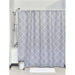 "Printed Shower Curtain Polyester Fabric 71""W x 79""L + Set 12 White Shower Rings Carthage"
