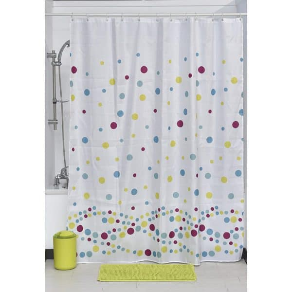 "Printed Shower Curtain Polyester Fabric 71""W x 79""L + Set 12 White Shower Rings Bubbles"