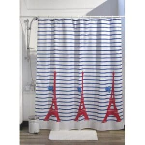 "Printed Shower Curtain Polyester Fabric 71""W x 79""L + Set 12 White Shower Rings Paris Je t aime"