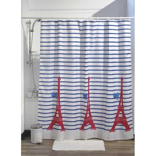 """Printed Shower Curtain Polyester Fabric 71""""W x 79""""L + Set 12 White Shower Rings Paris Je t aime"""