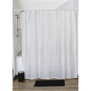 Lux Polyester Rhinestone Fabric Shower Curtain, White