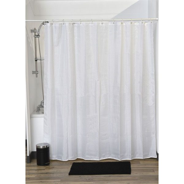 Lux Polyester Rhinestone Fabric Shower Curtain, White