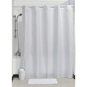 Hookless Shower Curtain Polyester Cubic- Color Matching Hooks 71L x 79H/ 180 x 200 cm White