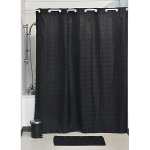 Hookless Shower Curtain Polyester Cubic- Color Matching Hooks 71L x 79H/ 180 x 200 cm Black