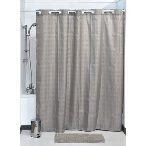 Hookless Shower Curtain Polyester Cubic- Color Matching Hooks 71L x 79H/ 180 x 200 cm Taupe