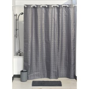 Hookless Shower Curtain Polyester Cubic- Color Matching Hooks 71L x 79H/ 180 x 200 cm Grey