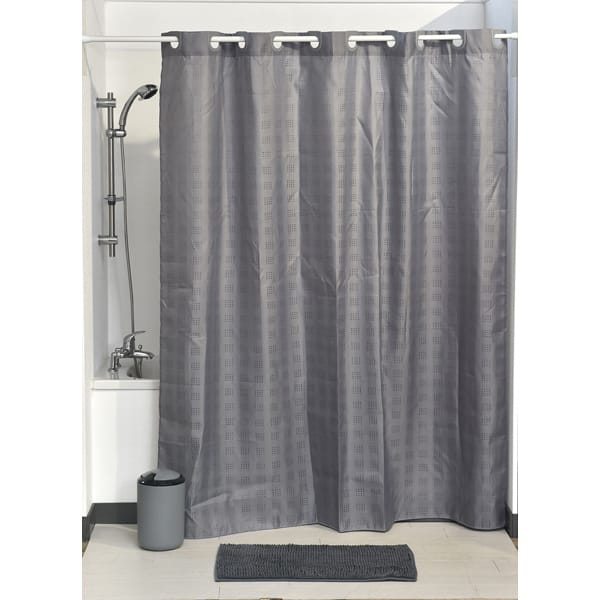 Hookless Shower Curtain Polyester Cubic Color Matching Hooks 71L X 79H 180 200 Cm Grey