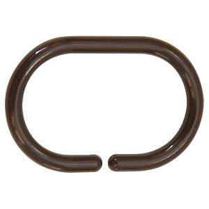 Shower Curtain Rings Plastic Hooks Solid And Clear Color Set of 12 Solid Brown