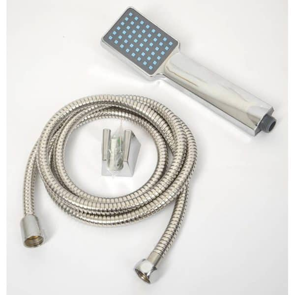 Modern Hand Held Shower Head with Stainless Steel Hose Set, Silver