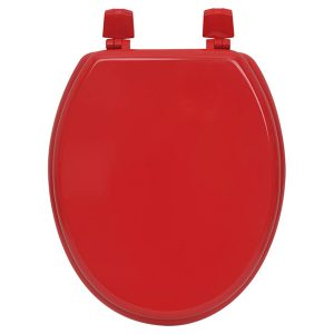 Oval Elongated Toilet Seat Solid Color Red, Wood,