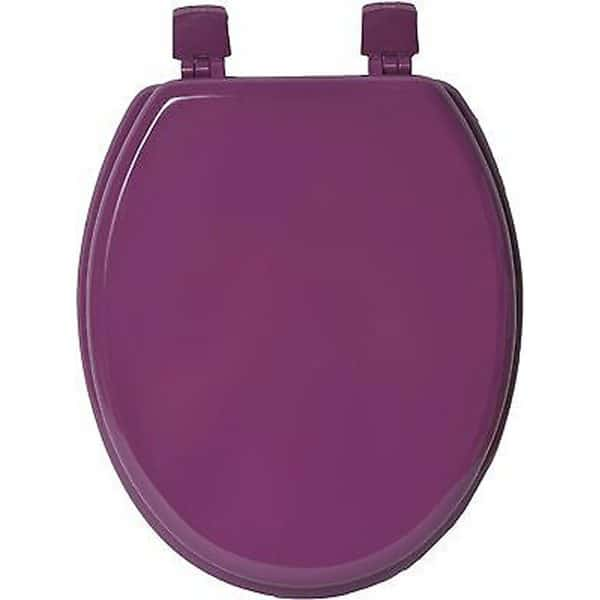 Oval Elongated Toilet Seat Solid Color Purple, Wood,