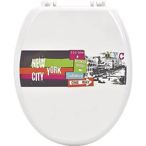 Printed Oval Elongated Toilet Seat Urban Nyc Wood