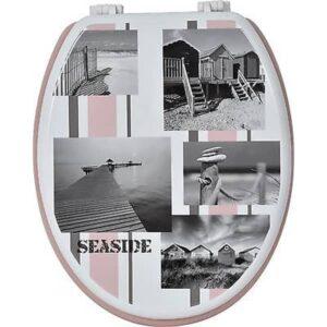 "Printed Oval Toilet Seat Seaside Wood 17.5""L x 14.75""W"