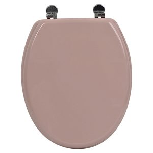 Oval Elongated Toilet Seat Design Pinky Adjustable Zinc Hinges, Pale Pink
