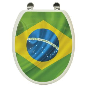 Printed Design Oval Elongated Toilet Seat With Adjustable Zinc Hinges, Brazil
