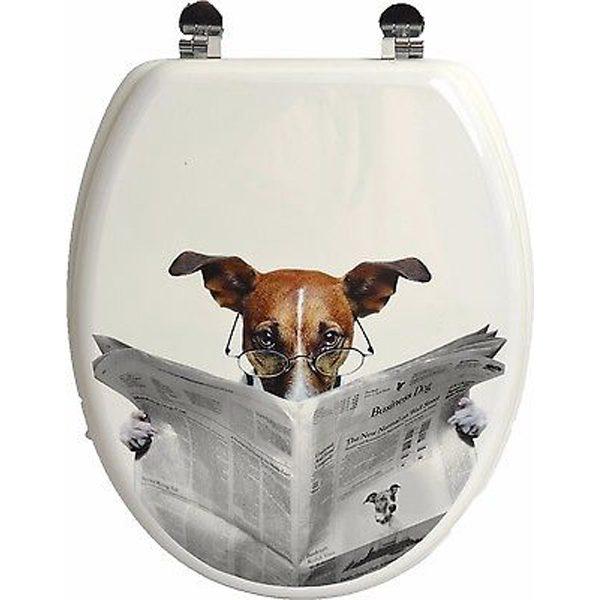 Printed Design Oval Elongated Toilet Seat With Adjustable Zinc Hinges, Karamel