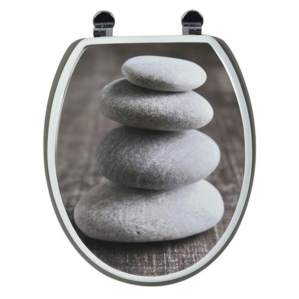 Printed Design Oval Elongated Toilet Seat With Adjustable Zinc Hinges, Roundston