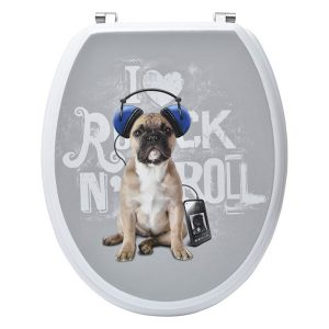 REX French Bulldog Puppy Oval Toilet Seat Adjustable Zinc Hinges