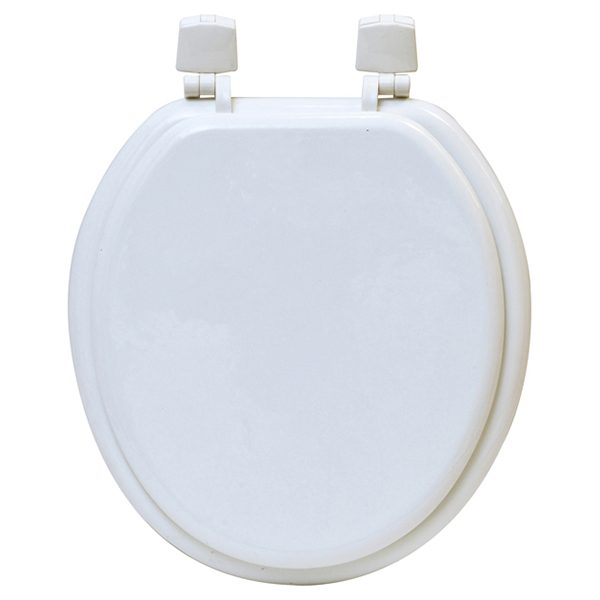 Round Molded Wood Toilet Seat Solid Color, White
