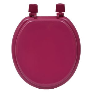 Round Molded Wood Toilet Seat Solid Color, Pink