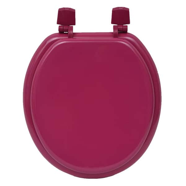 Superb Round Molded Wood Toilet Seat Solid Color Pink Customarchery Wood Chair Design Ideas Customarcherynet