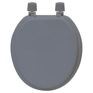 Round Molded Wood Toilet Seat Solid Color, Gray