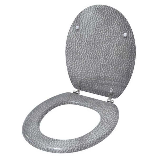 Oval Toilet Seat Leather Effect -3 Printed Sides-Adjustable Zinc Hinges- Grey