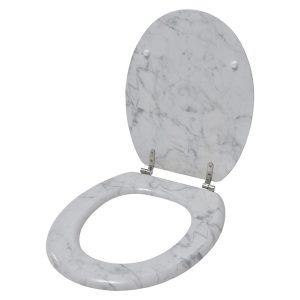 Oval Toilet Seat Marble Effect -3 Printed Sides-Adjustable Zinc Hinges- Ivory