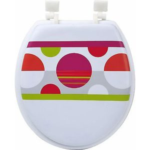 Printed Round Soft Toilet Seat Foam 15.5x14.25, Eclats