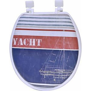 Printed Round Soft Toilet Seat Foam 15.5x14.25, Yacht Club