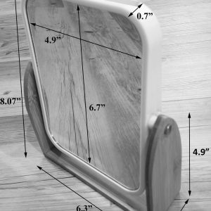 Magnifying Dual-Sided Pivoting Vanity Mirror Countertop Bamboo Base White