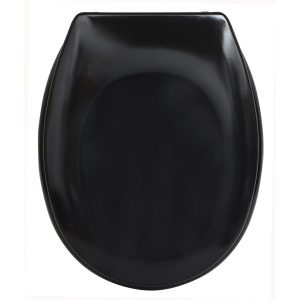 "Slow-Close Quiet Oval Elongated Toilet Seat Solid Shiny Gray 17.48""x14.64"", Blac"